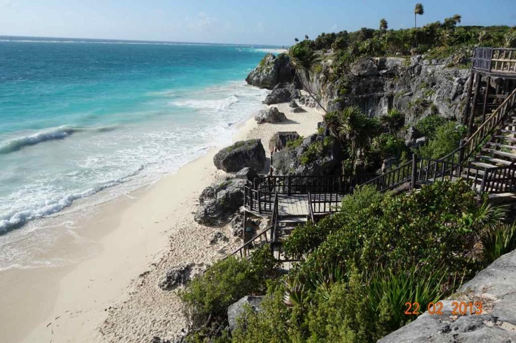 Zentralamerika, Mexiko, Tulum, Strand vor der Mayastätte