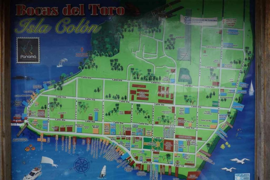 Panama, Islas Bocas del Toro, Stadtkarte