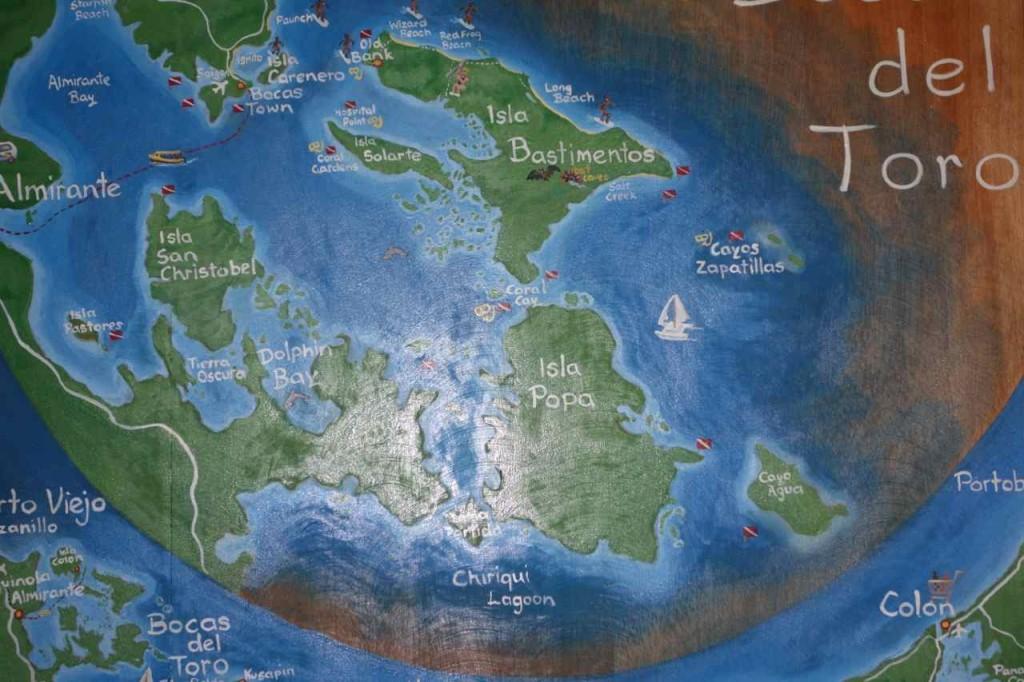 Karte von Bocas del Toro