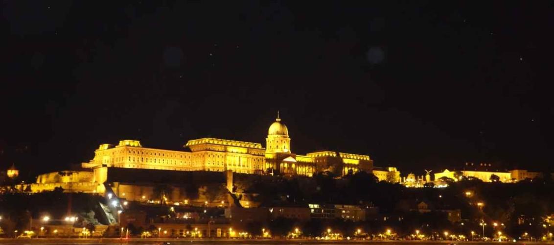 Budapest, Schlossberg auf der Buda-Seite bei Nacht