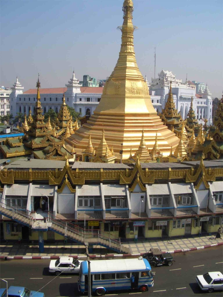 Yangon, Sule Pagode, Blick vom Garden Guest House