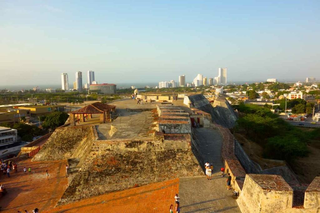 Cartagena, Fort San Felipe mit Bocagrande im Hintergrund