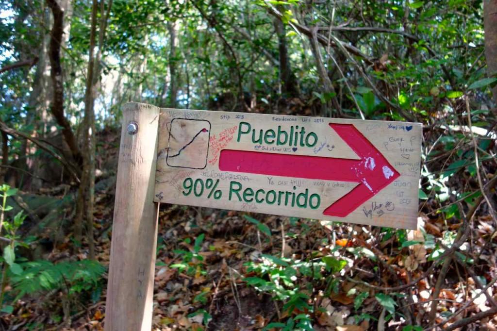 Wegweiser nach Pueblito, 90 % sind zurückgelegt...