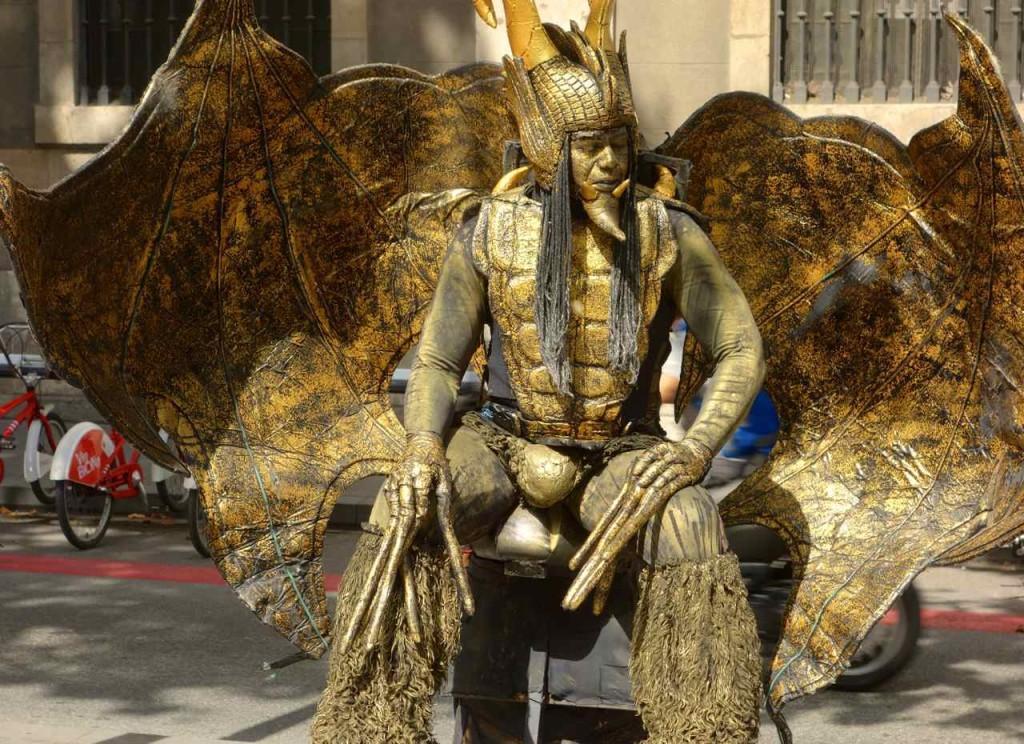 Lebende Statue auf der Rambla