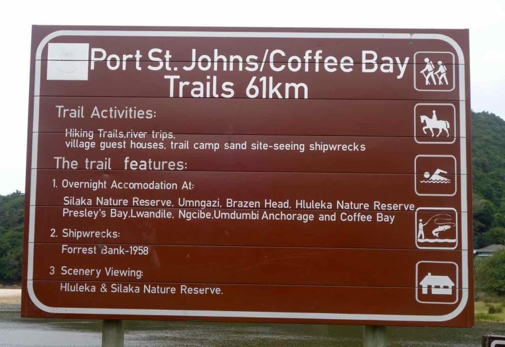 Südafrika, Port St. Johns, Schild für Trail nach Coffee Bay