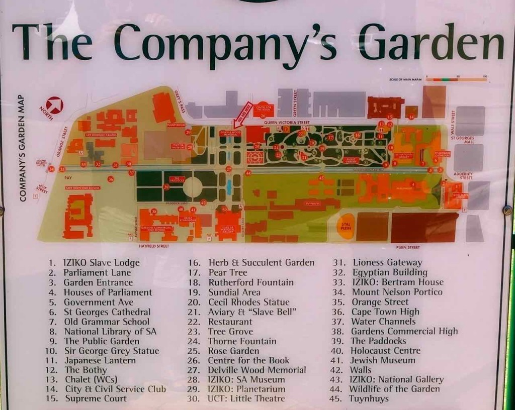 Kapstadt, Companys Garden, Übersichtstafel