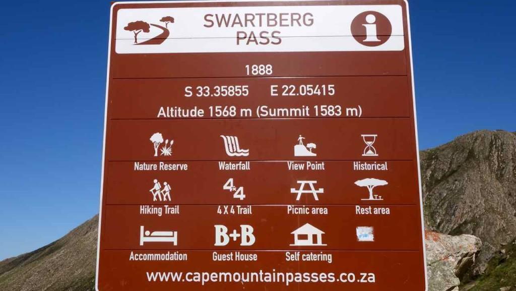 Südafrika, Oudtshoorn, Swartberg Pass 2, Schild