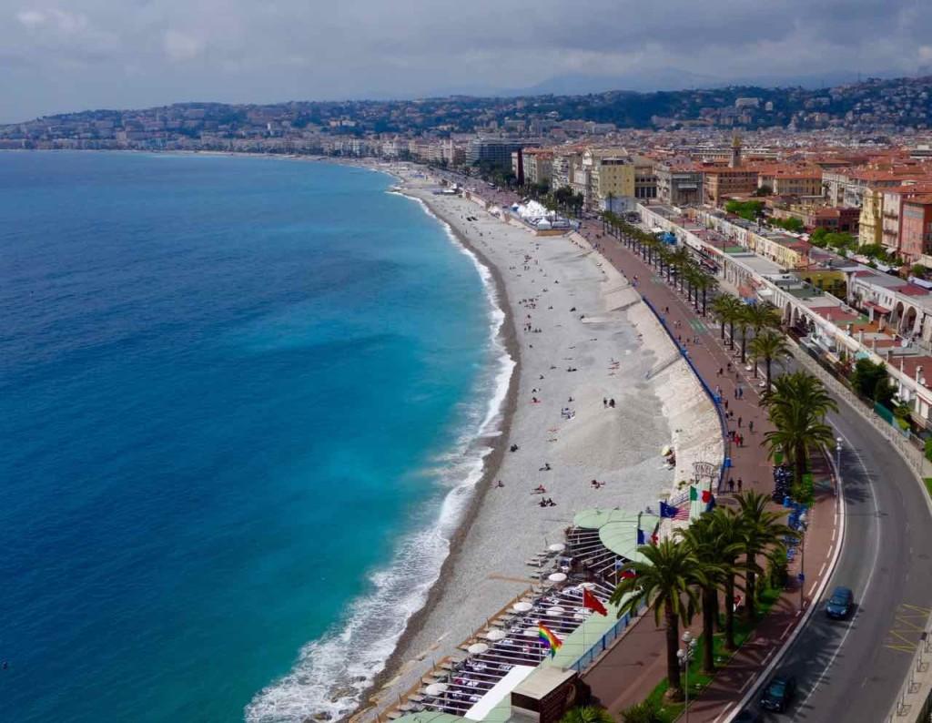 Nizza Highlights, Promenade des Anglais vom Colline du Château