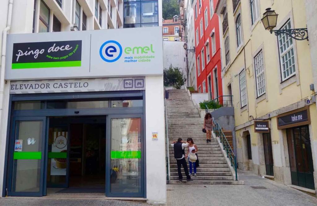Aussichtspunkte von Lissabon, Eingang zum zweiten Lift zum Castelo