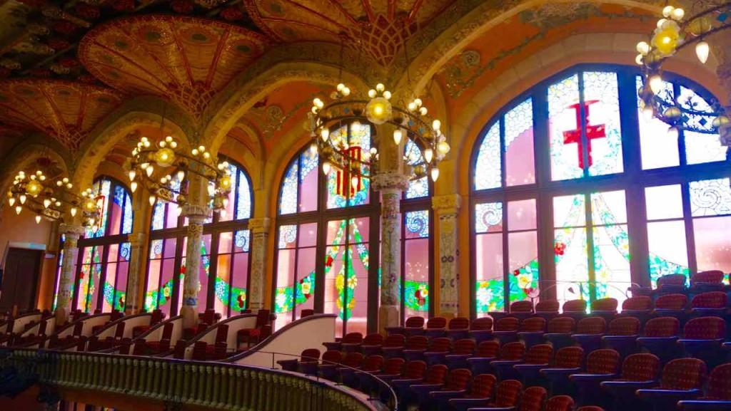 Barcelona, Palau de la Musica, Seitenfenster auf der Empore