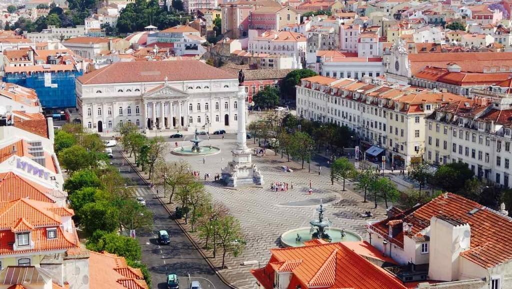 Lissabon Tipps, Rossio Platz von oben 1