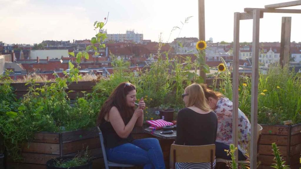 Berlin Hotspot, Rooftop-Bar Klunkerkranich, 3 Frauen vor Blumen