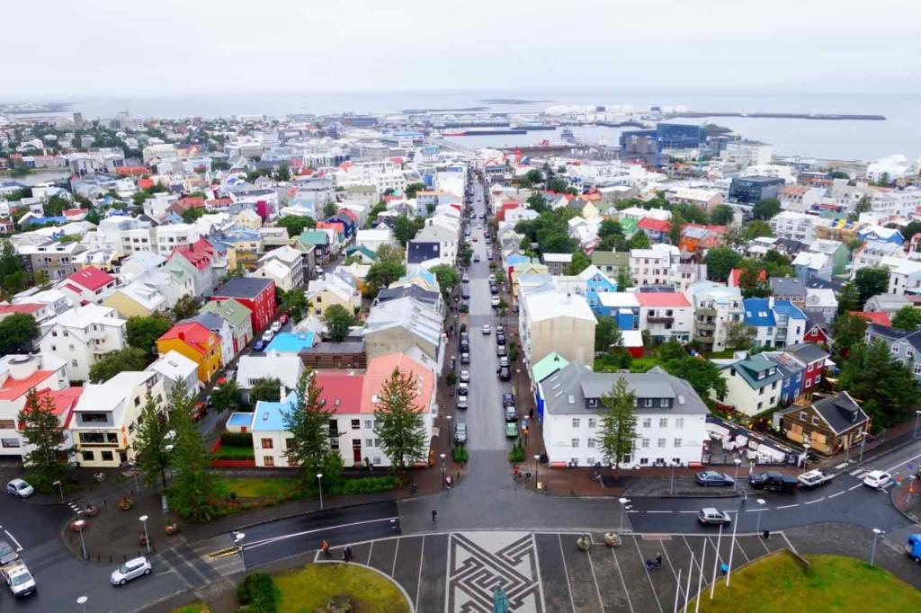 Island, Sehenswürdigkeiten, Reykjavik, Blick von der Aussichtsplatform der Kirche Hallgrímskirkja 2