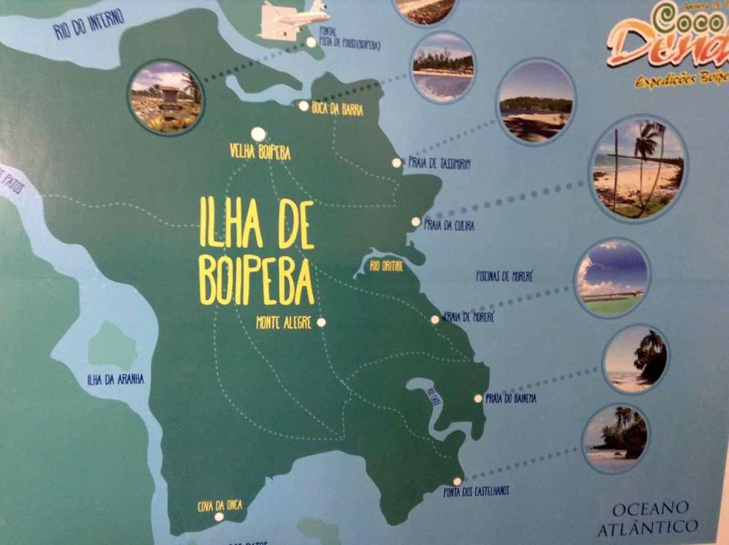 Brasilien, Ilha de Boipeba, Plan der Insel