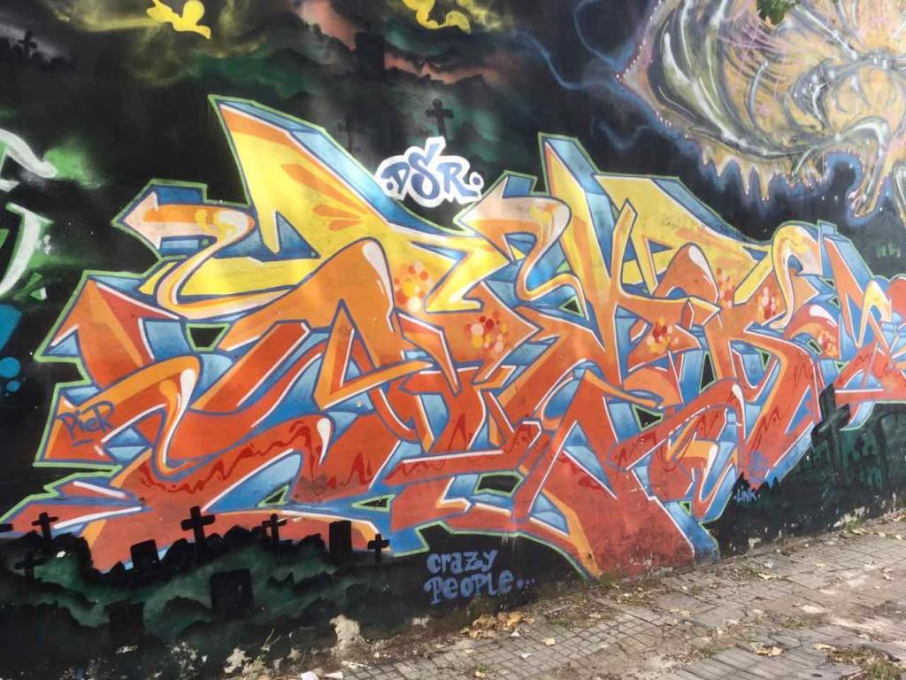 Buenos Aires Street Art in Barracas. Bei vielen Graffitis sind die Namen der Künstler oft nicht auf den ersten Blick zu erkennen