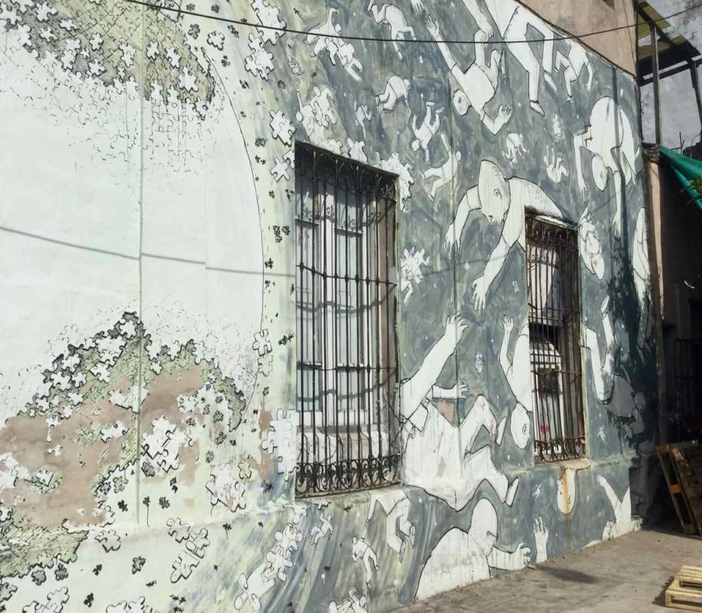 Street Art in La Boca, Artist: Blu, © PetersTravel, iPod-Foto. Die Welt bricht auseinander
