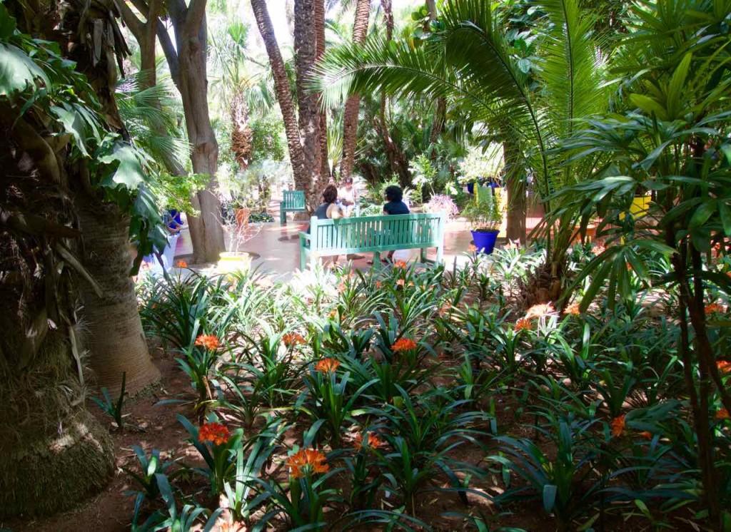 Jardin Majorelle Marrakesch, Garten mit Bänken