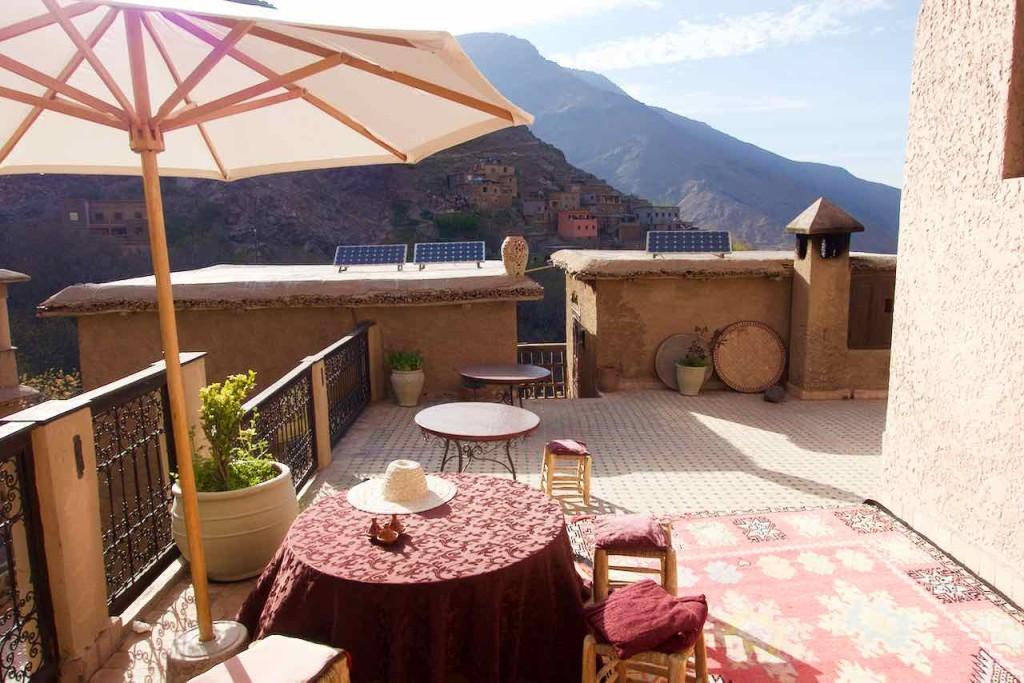 Kasbah du Toubkal Imlil Tal, Terrasse, Ausschnitt, Marokko