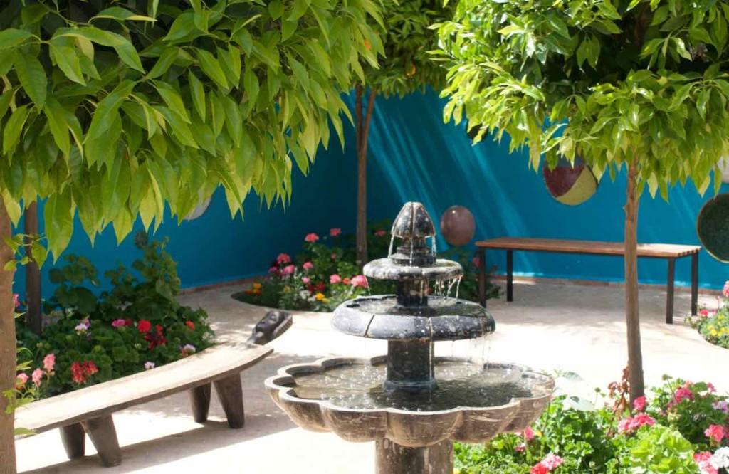 Marrakesch Sehenswürdigkeiten Anima Garten von André Heller, Ruhegarten mit Springbrunnen, Marokko