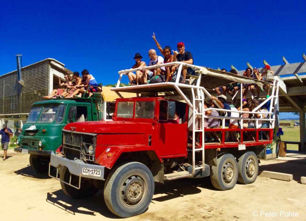 Cabo Polonio, Uruguay, LKW für die Anreise, iPod-Foto © Peter Pohle