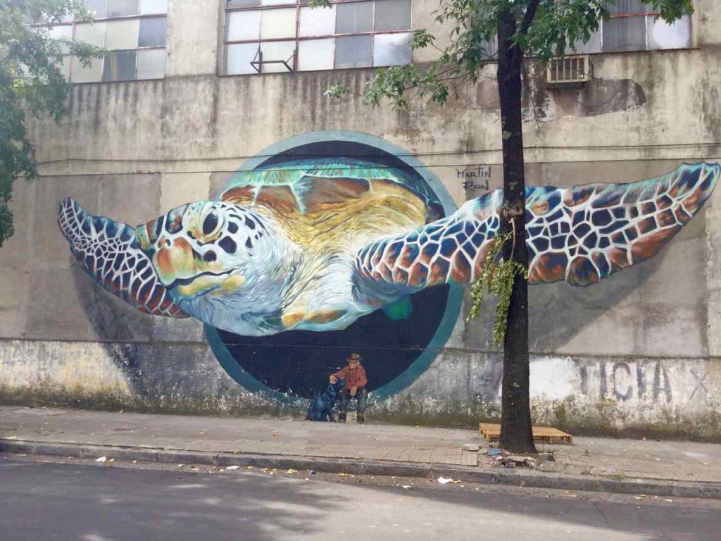 Street Art, 3-D Turtle, Artist: Martin Ron, Buenos Aires/La Barraca, iPod-Foto ©Peter Pohle
