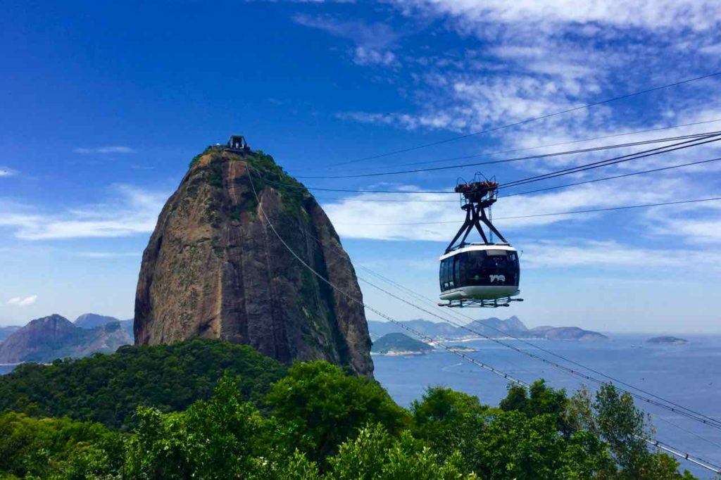Zuckerhut Rio de Janeiro Pao de Acucar, Brasilien, Gondel auf dem Weg zum Gipfel, Titel ©PetersTravel