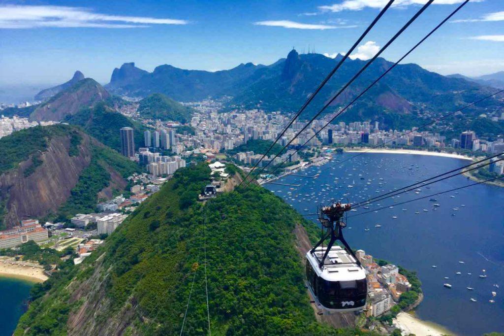 Zuckerhut Rio de Janeiro Pao de Acucar, Brasilien, Seilbahn auf dem Weg zum Gipfel ©PetersTravel