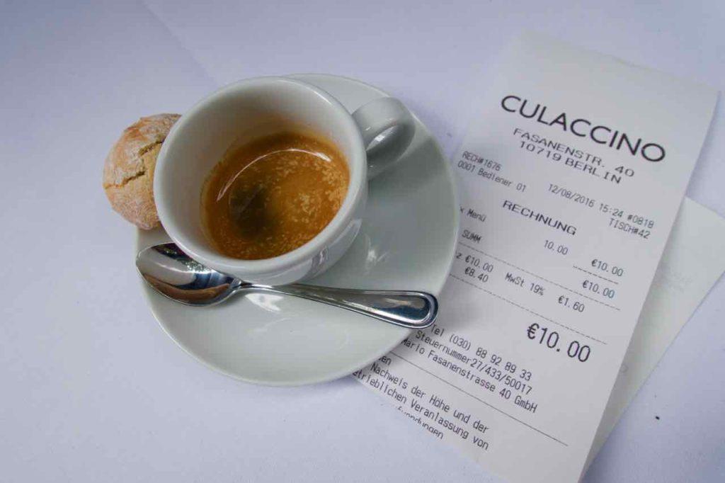Restaurant Culaccino Berlin, Espresso+ Rechnung