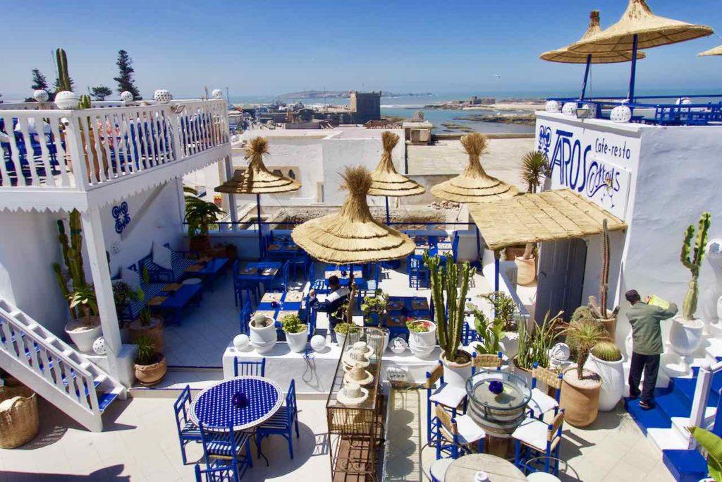 Essaouira Tipps - Die schönsten Restaurants & Riads Café Restaurant Taros, Dachterrasse ©PetersTravel