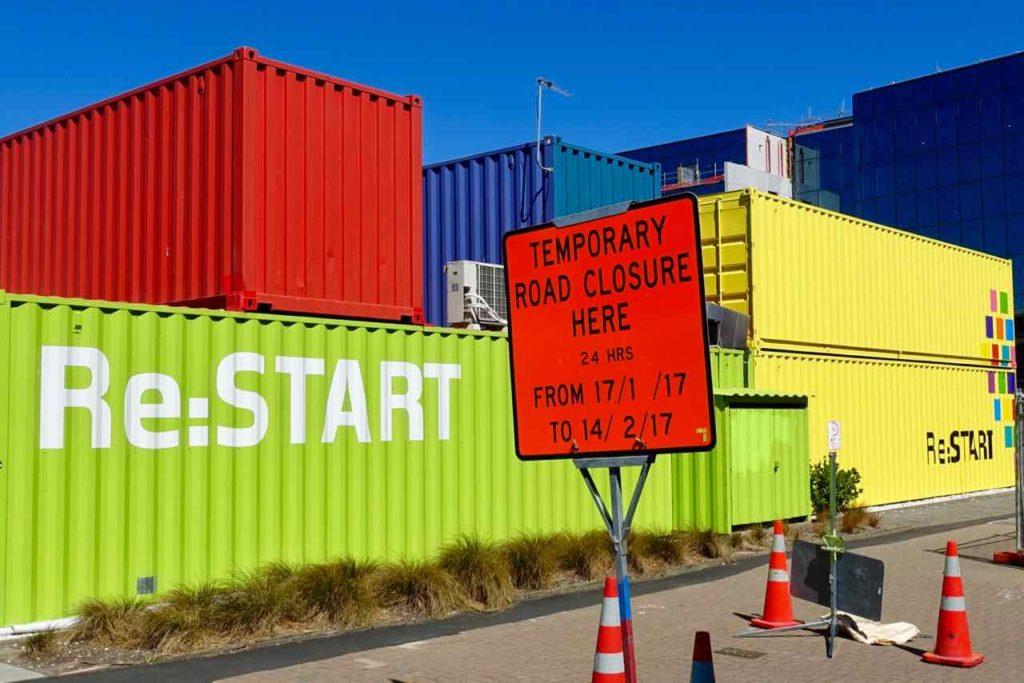Christchurch Sehenswürdigkeiten Tipps: Container beim Re:START Neuseeland @PetersTravel
