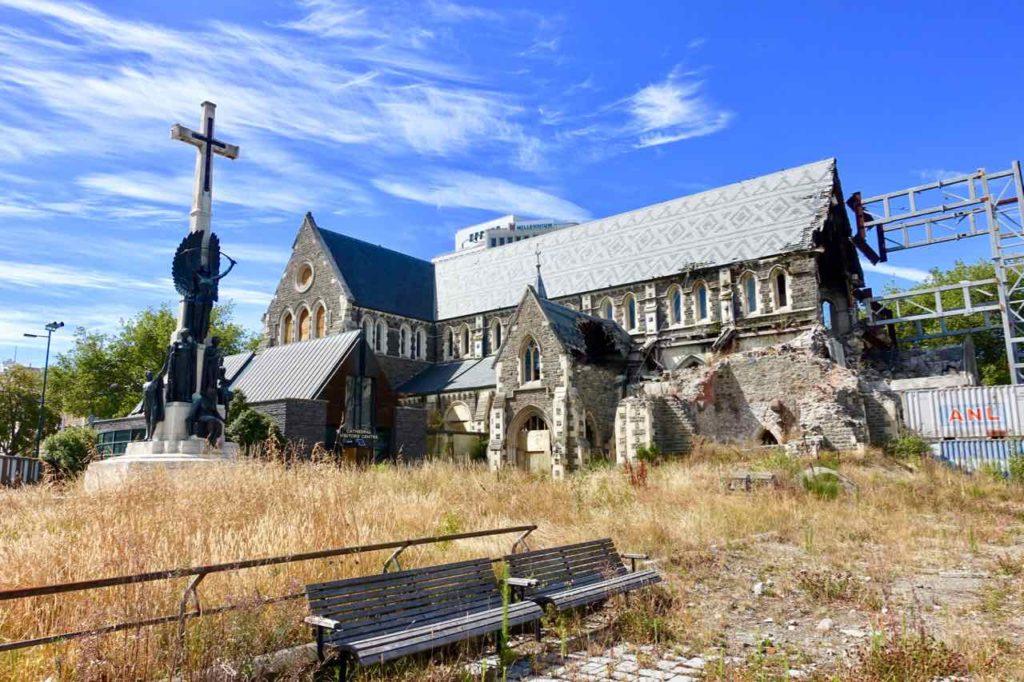 Christchurch Sehenswürdigkeiten Tipps: Gesperrta Kathedrale im Zentrum Neuseeland @PetersTravel
