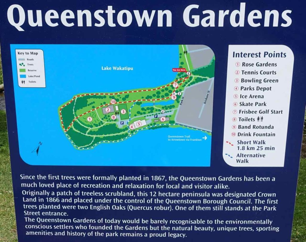 Queenstown Gardens Infotafel, Neuseeland @PetersTravel