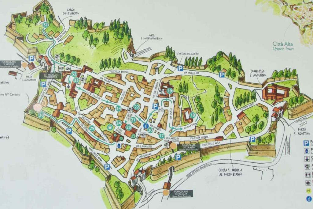Bergamo Tipps Sehenswürdigkeiten Altstadt Karte ©PetersTravel