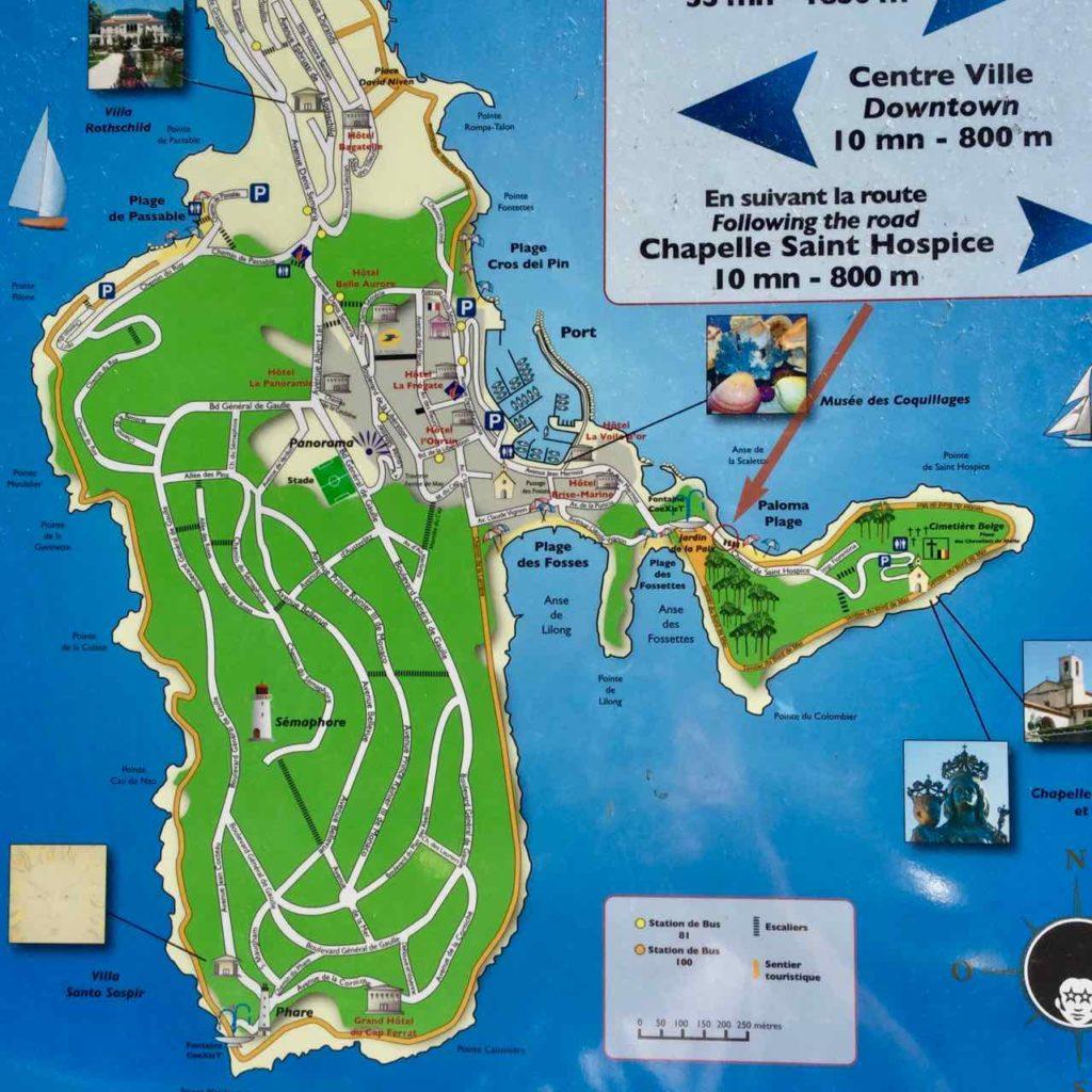 Wanderung um das Cap Ferrat an der Cote d'Azur: Karte vom Großen und Kleinen Cap Copyright PetersTravel / Peter Pohle