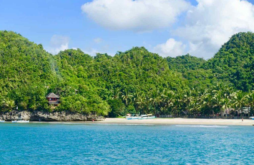 Sugar Beach bei Sipalay auf Negros, Strandende unterhalb der Sugar Lounge