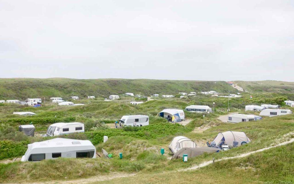 Urlaub auf Texel: Campingplatz von De Koog. Insel Texel in den Niederlanden.