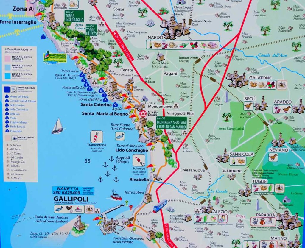 Apulien Strände, Karte der Gegend nördlich von Gallipoli, Salento, Italien