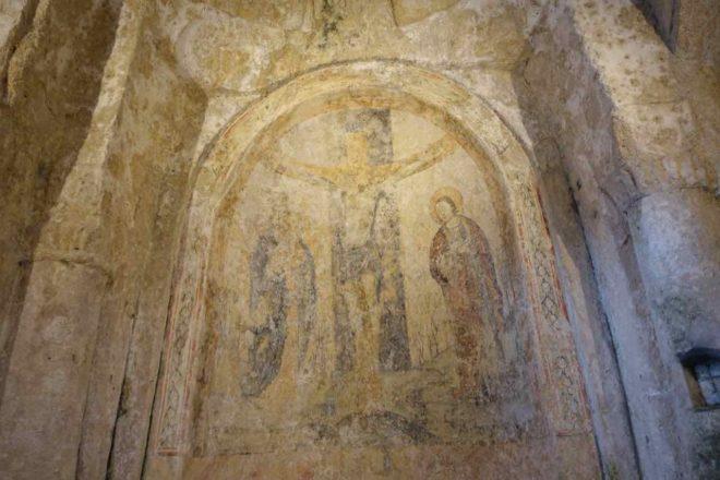 Matera: Wandmalerei in der Höhlenkirche Madonna della Virtú e San Nicola dei Greci