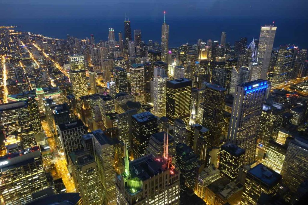 Chicago Aussichtspunkte: Blick vom Willis Tower am Abend Foto Peter Pohle PetersTravel