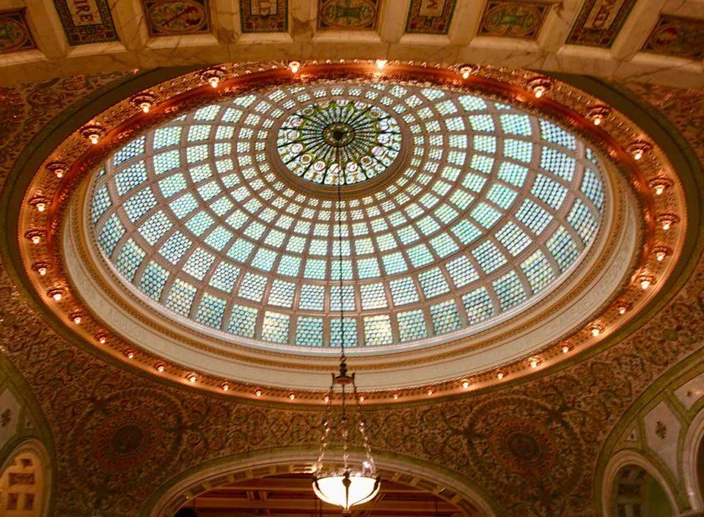 Chicago Greeter Tour: Decke in der Preston Bradley Hall im Chicago Culture Center, Foto Peter Pohle PetersTravel
