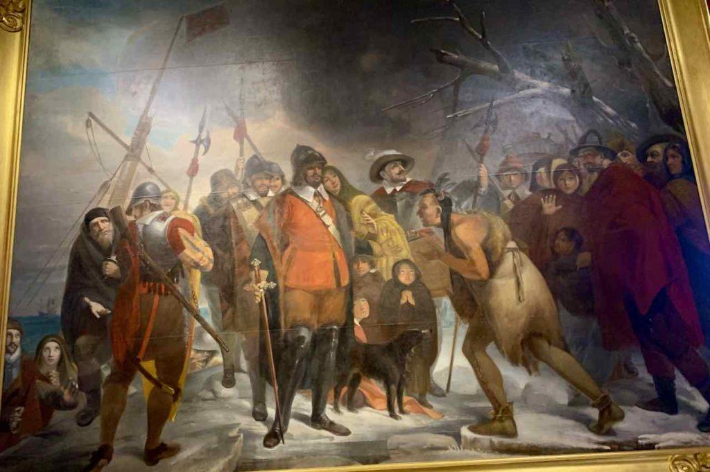 Begegnung der Pilgerväter mit den Wampanoag, Gemälde im Pilgrim Hall Museum in Plymouth MA Copyright Pilgrim Hall Museum
