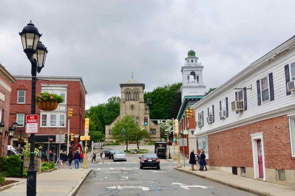 Die Leyden St in Plymouth MA war die erste Straße der Siedlung der Pigerväter