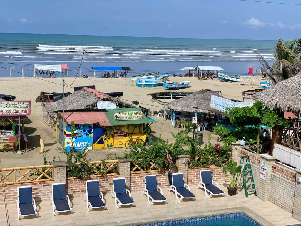 Blick vom Hotel La Vista in Canoa, Ecuador