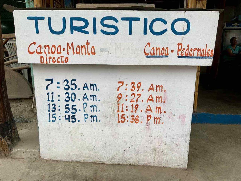 Busfahrplan in Canoa, Ecuador