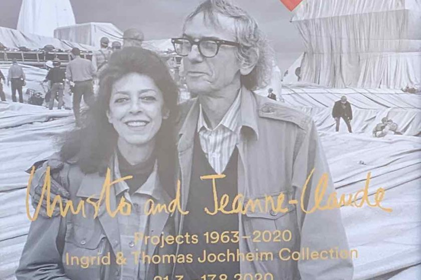Plakat: Christo und Jeanne Claude währendder Installation des Verhüllten Reichstages,Berlin 1995