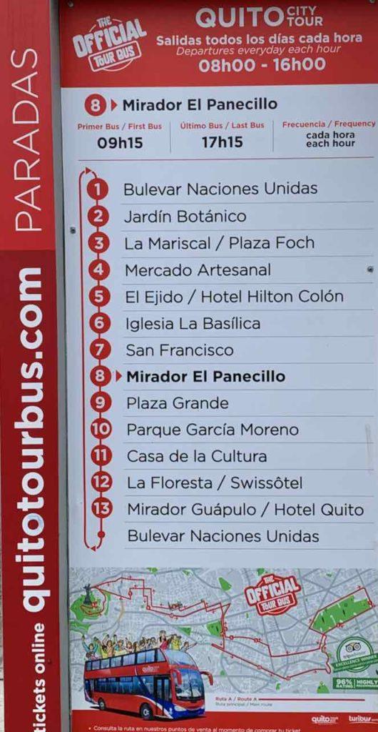 Quito Sehenswürdigkeiten: Haltestellen des Hop On Hop Off Bus