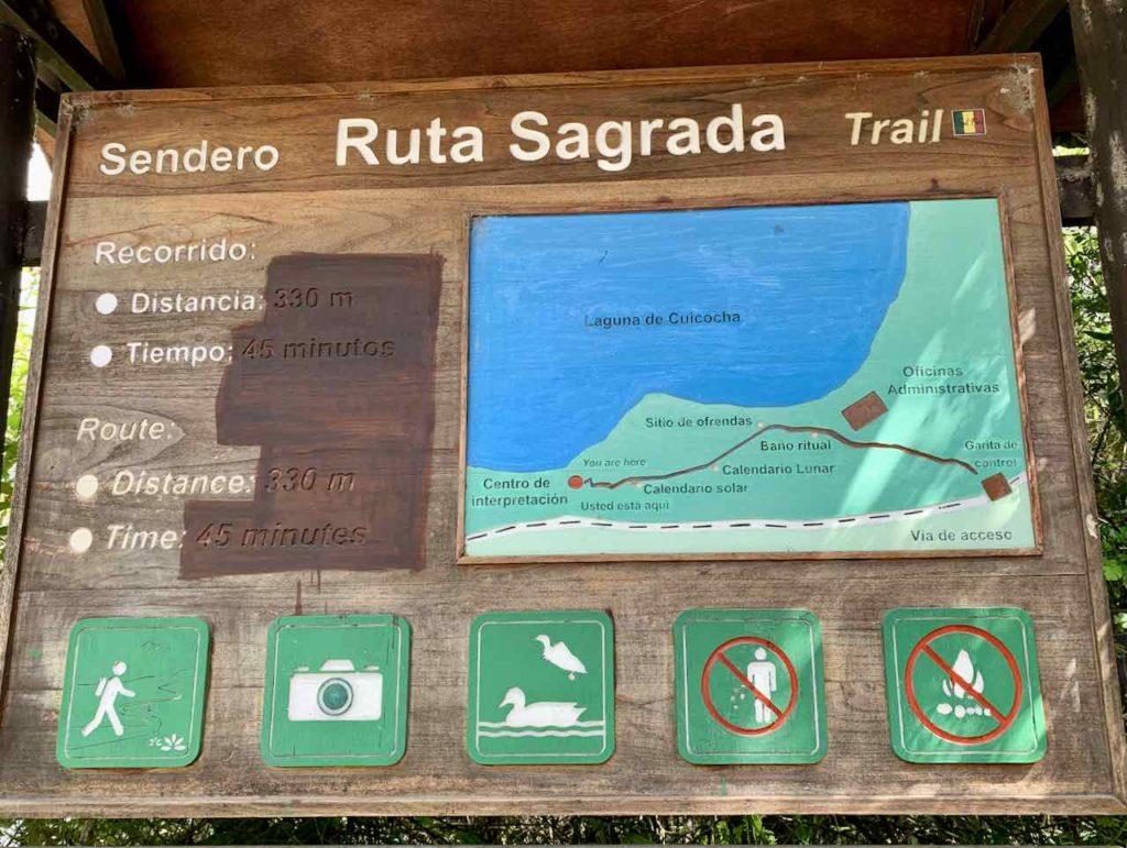 Ruta Sagrada an der Lagune Cuicocha im Norden von Ecuador