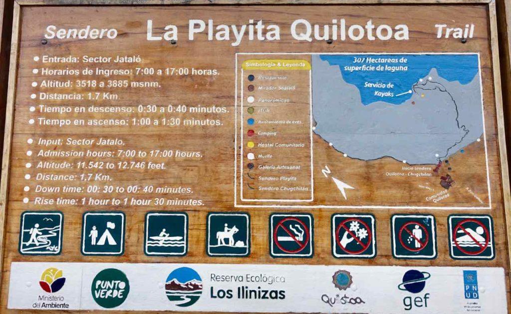 Informationstafel zur Lagune Quilotoa, Ecuador