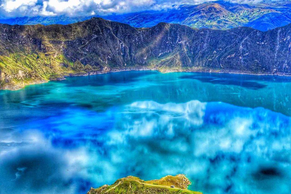 Lagune Quilotoa in den ecuadorianischen Anden von Ecuador