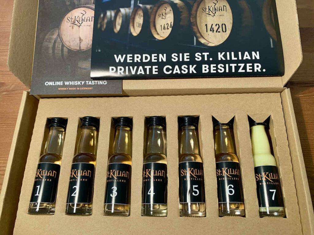 Flaschenset für Online Tasting in der St. Kilian Whisky Destillery in Rüdenau